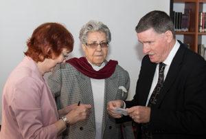 Angela Simpson with Ms Mahira Dajani (DTA President) and Mr Brendan McSharry OBE (Director, British Council, East Jerusalem)