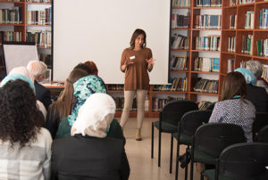 Ms Merna Kassis, Scholarships Officer at the British Council, addressing the DSMT-DTA alumnae meeting.