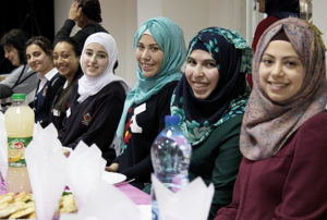 DSMT current school scholarship holders L to R: 11th graders Lana, Tala and Rawan, and 12th graders Haneen, Taima and Wala